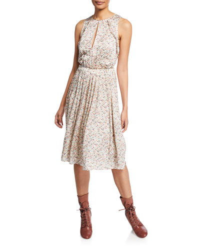 New Meadow-Print Sleeveless A-Line Dress