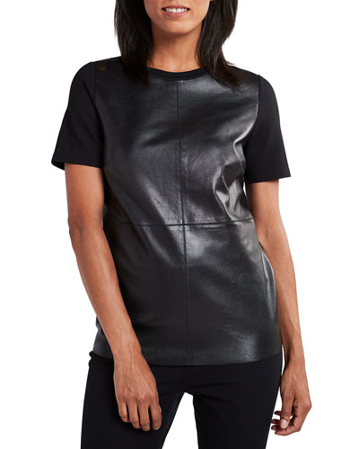 Tiff Crewneck Short-Sleeve Blouse with Leather Bodice