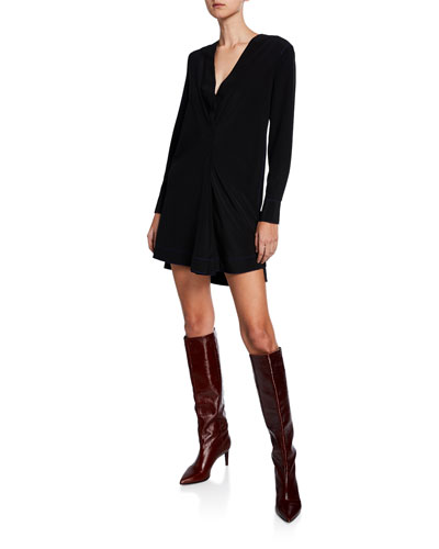 Shields V-Neck Long-Sleeve Silk Dress