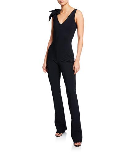 e057dbc5 Suni V-Neck Sleeveless Straight-Leg Jumpsuit w/ 3D Flower Shoulder Quick  Look. Chiara Boni La Petite Robe