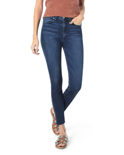 Charlie High-Rise Crop Skinny Jeans w/ Raw Hem