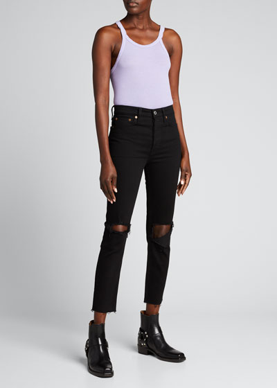 High-Rise Skinny Frayed Ankle Jeans