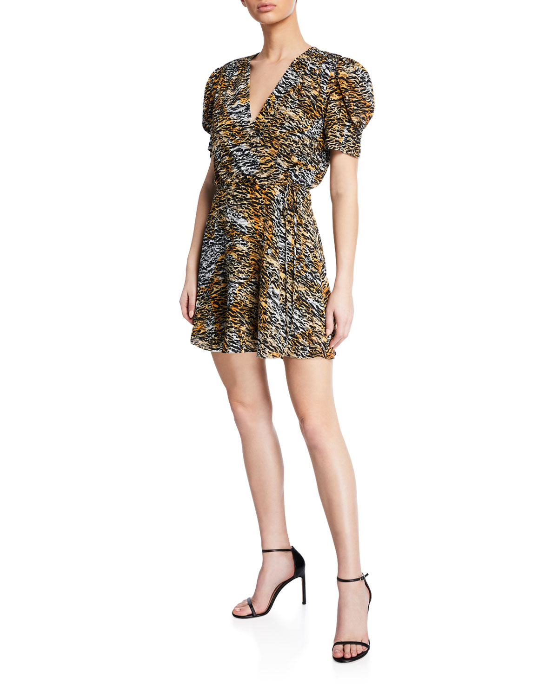 Saloni Dresses Lea Silk Animal-Print Wrap Dress, INK TIGER