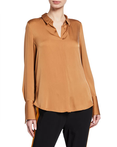 Rayne Long-Sleeve Collared Silk Blouse