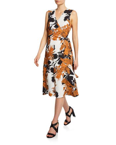Brynn Patterned Wrap-Tie Dress