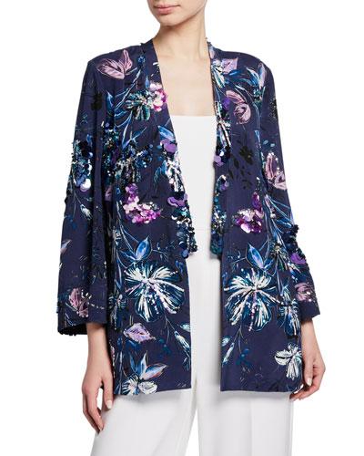 Austen Embellished Floral-Print Open-Front Jacket