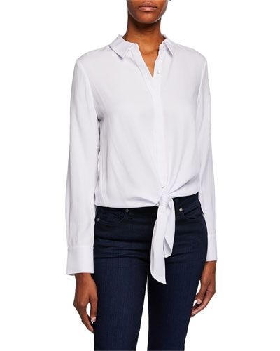 Mariah Button-Down Long-Sleeve Tie-Front Blouse