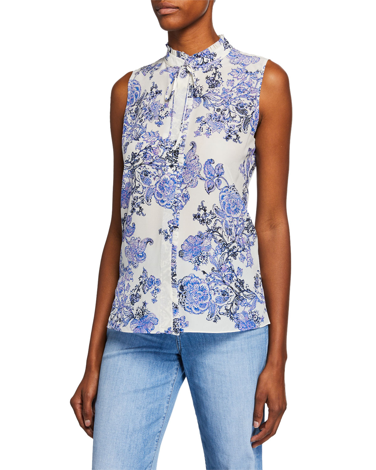 Kobi Halperin Tops HAZEL FLORAL MOCK-NECK SLEEVELESS BLOUSE