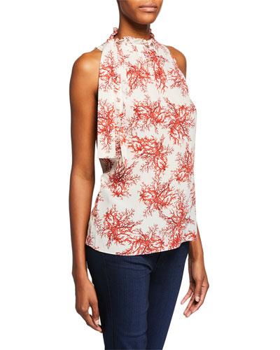 Maxi Coral-Print Mock-Neck Sleeveless Blouse