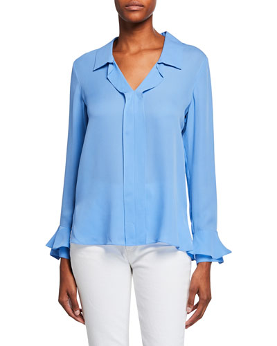 Maisie Long-Sleeve Silk Blouse