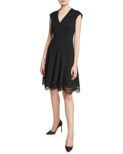 Heidi Zip-Front Cap-Sleeve Lace-Hem Dress