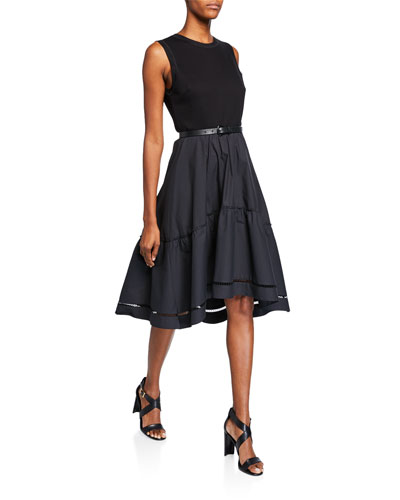 Stephanie Crewneck Sleeveless Belted Fit-and-Flare Dress