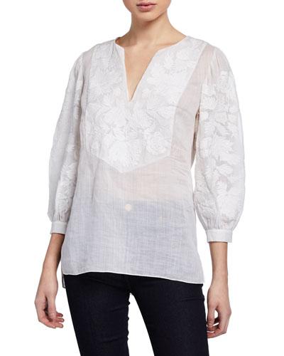Serilda Embroidered 3/4-Sleeve Linen Blouse