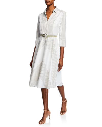 f8fa98369510c Candence Striped V-Neck 3/4-Sleeve Belted Dress Quick Look. Elie Tahari