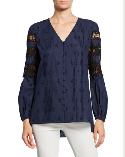 Leigha V-Neck Long-Sleeve High-Low Blouse with Lace & Embroidery