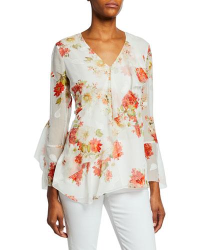 5e8628333953 Eda Floral-Print V-Neck Bracelet-Sleeve Ruffle Blouse Quick Look. Elie  Tahari