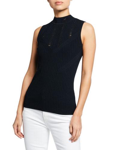 Malikah Mock-Neck Sleeveless Sweater