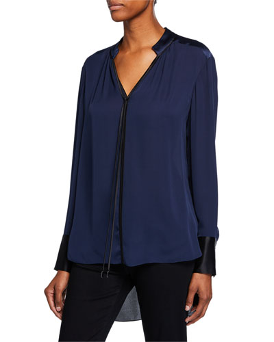 Shree V-Neck Long-Sleeve High-Low Silk Blouse