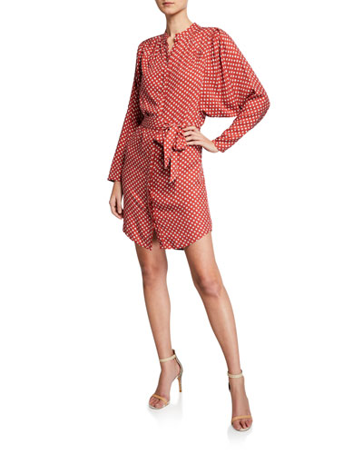 Myune Dot-Print Batwing-Sleeve Shirt Dress