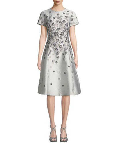 Short-Sleeve 3D Floral-Embroidered Jacquard A-Line Dress