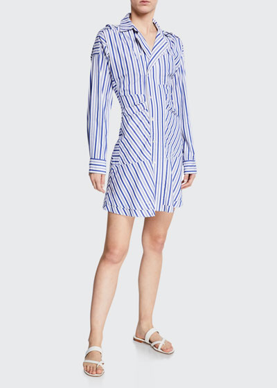 Striped Tie-Front Shirt Dress