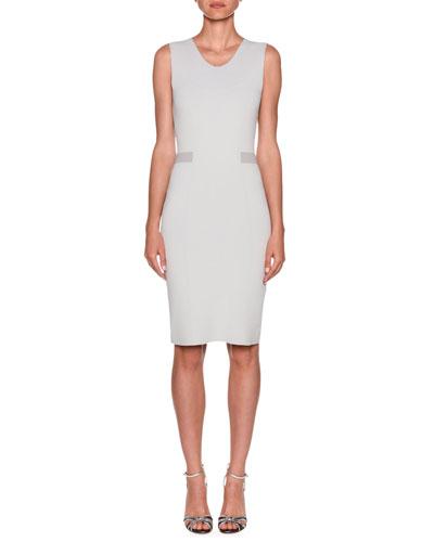 Stripe-Waist Crepe Jersey Sheath Dress