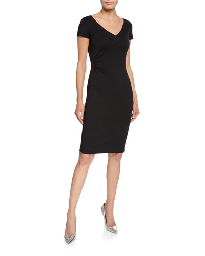 V-Neck Milano Jersey Cap-Sleeve Sheath Dress