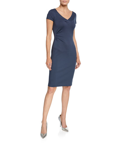 V-Neck Milano Jersey Cap-Sleeve Dress