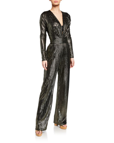 c23ba8f2be33 Plunging Metallic Long-Sleeve Coverup Jumpsuit