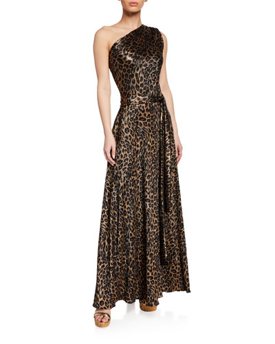 Leopard-Print Metallic One-Shoulder Maxi Dress