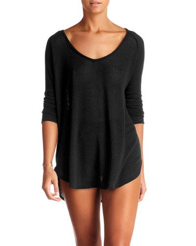 Drifter Beach Sweater Coverup, Black