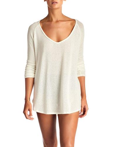 Drifter Beach Sweater Coverup, Cream