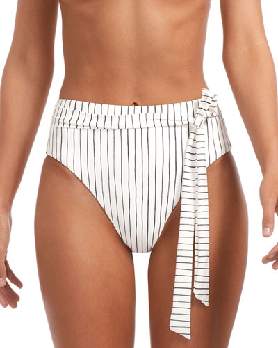 d70db05899296 Lola Stripe High-Waist Cheeky Bikini Bottoms