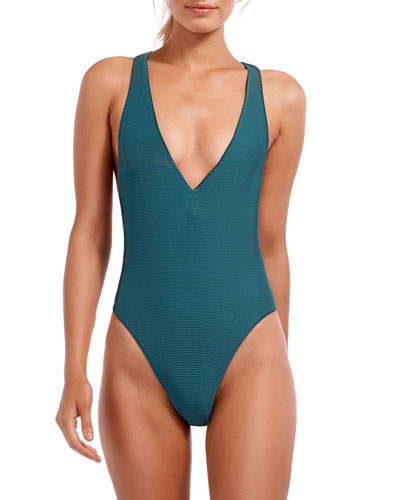 Alana Bio Rib Plunge High-Leg One-Piece Swimsuit