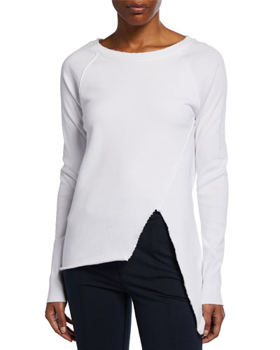Asymmetric Cotton Sweatshirt, White