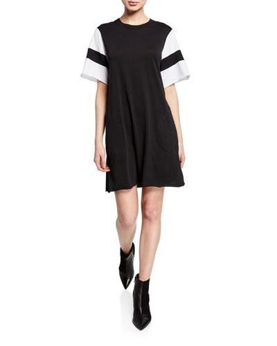 Crewneck Short-Sleeve Jersey Cotton Dress