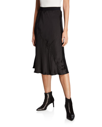 Silk Midi Pull-On Skirt