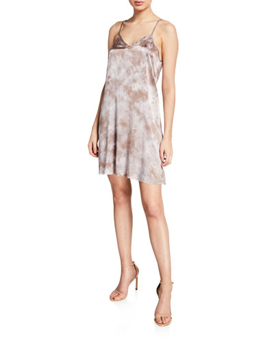 Tie-Dye Silk V-Neck Short Slip Dress