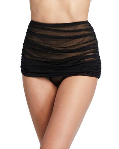 Bill Shirred Mesh High-Waist Bikini Bottom