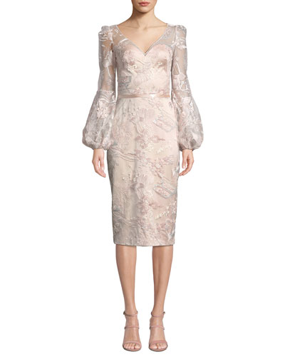 V-Neck Lantern-Sleeve Sequin Embroidered Lace Illusion Dress