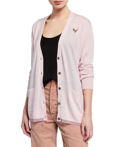Essentials Oversized Button-Front Cardigan
