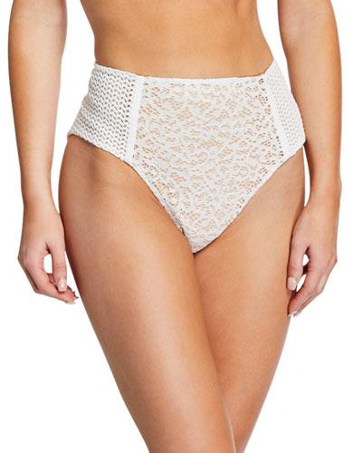 Lace Combo High-Waist Bikini Bottom