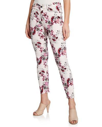 Floral-Print Mid-Rise Skinny Ankle Jeans