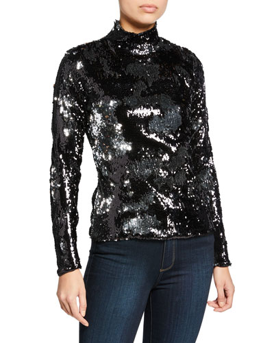 713003e08d5385 Sequined Turtleneck Long-Sleeve Top Quick Look. Milly