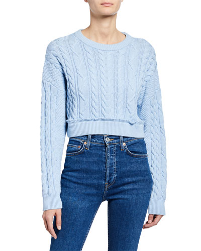 Crewneck Cable-Knit Cropped Sweater