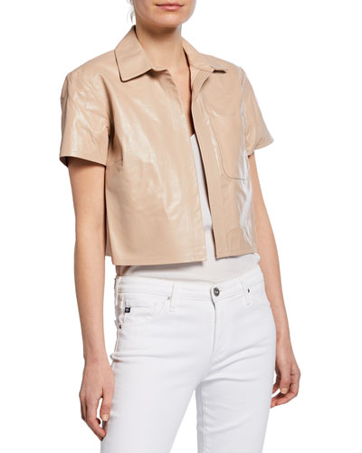 Kennedy Cropped Leather Short-Sleeve Jacket