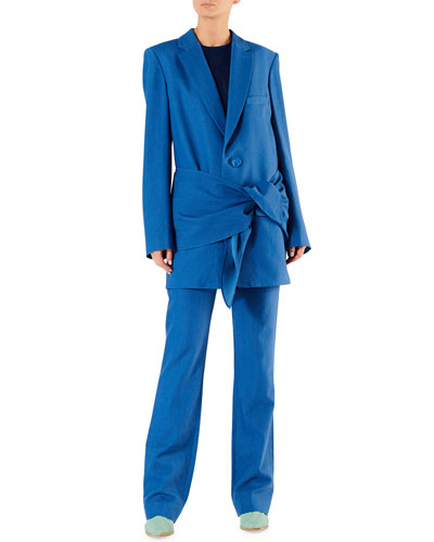 Linen-Viscose Suiting Belted Long Blazer