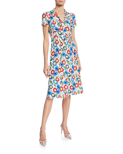 Morgan 40s Sunflower Print Silk Dress