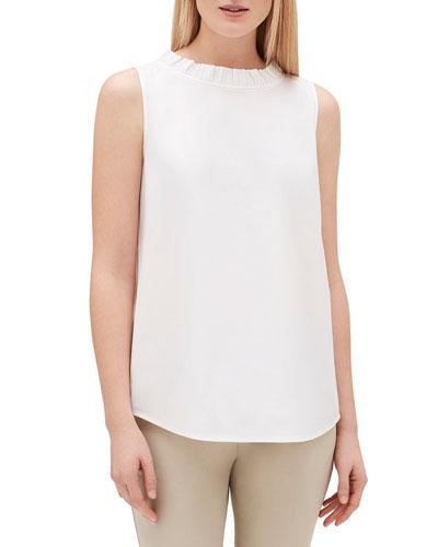 Yvette Sleeveless Italian Stretch Cotton Blouse
