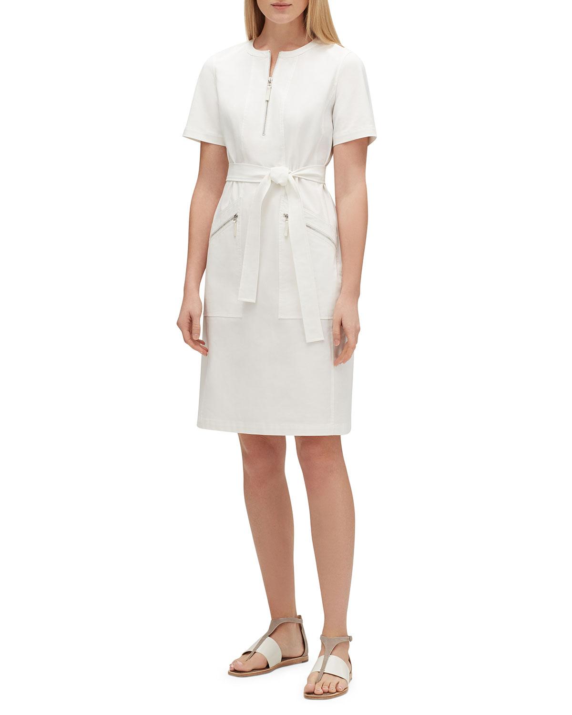 Lafayette 148 Dresses ELIZABELLA ZIP-FRONT SHORT-SLEEVE FUNDAMENTAL BI-STRETCH DRESS
